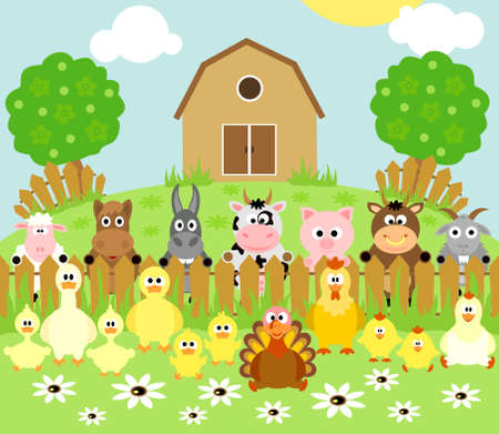 Farm background with funny animals Stock Vector - 18966214