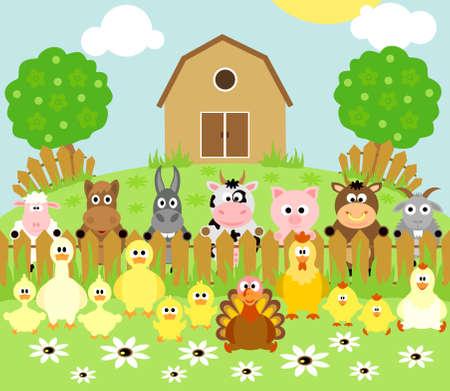 bauernhof: Farm Hintergrund mit lustigen Tieren