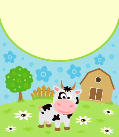 Background cartoon card with funny cow Çizim
