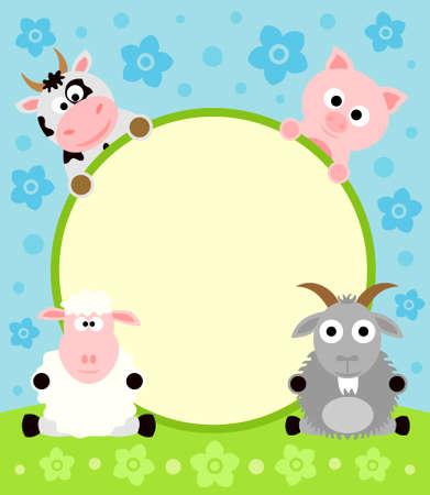 Animal cartoon background card Çizim