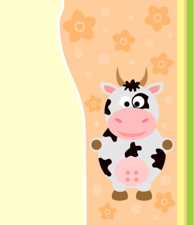 Background card with funny cow Stock Vector - 18966134