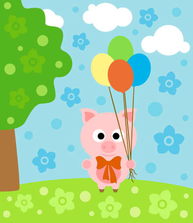 Cartoon background with funny pig Vector