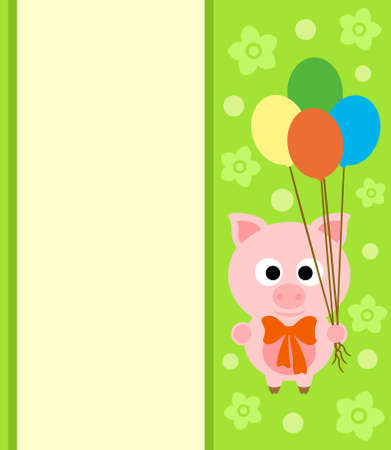 Background card with funny pig Vector