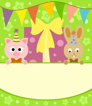 Background card with funny pig and rabbit Vector