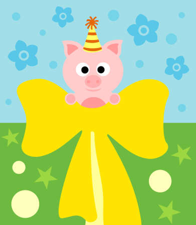 Cartoon background card with funny pig Vector