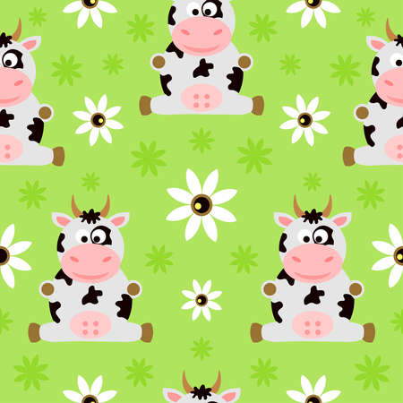 Seamless background cartoon with funny cow Illustration