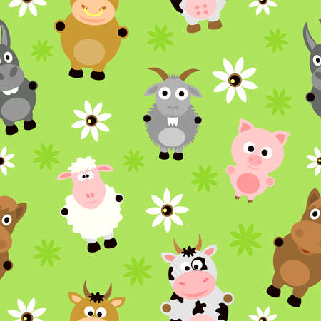 group pattern: Seamless background card with funny animals