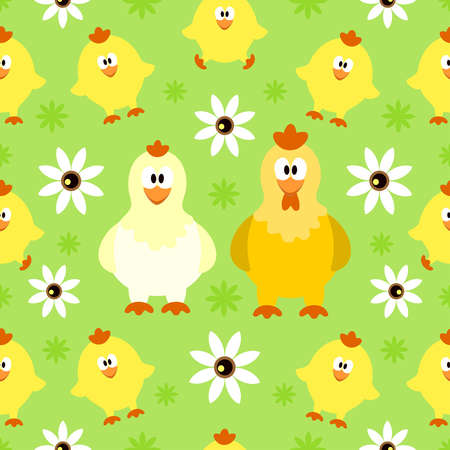Seamless background with funny chicken Vector