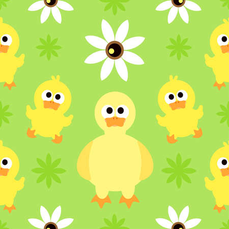 Seamless background with funny duck Vector