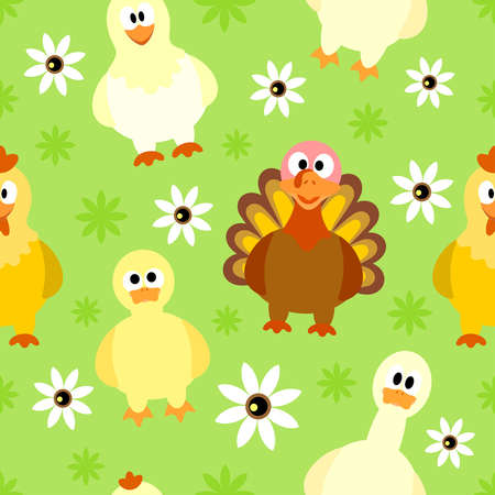Seamless background with funny birds Vector