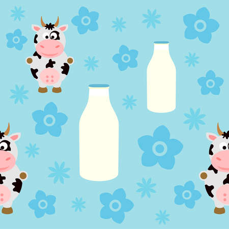 Seamless background card with funny cow Vector