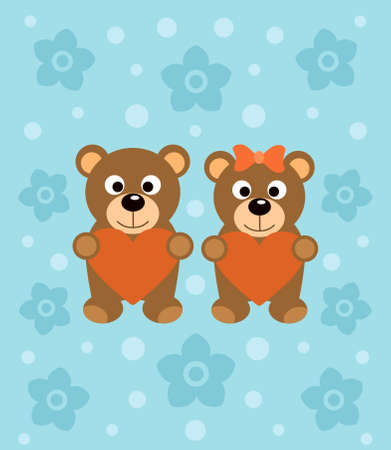 Background  with funny cartoon bears Vector