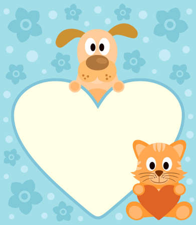 Background card with funny cartoon dog and cat Vector