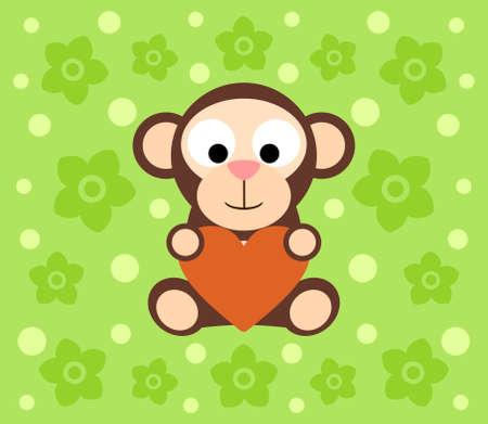 Background With Funny Monkey Cartoon