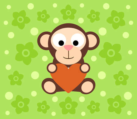 Background with funny monkey cartoon Vector