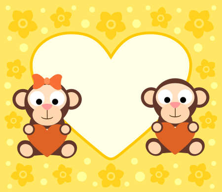 Background with funny cartoon monkeys Vector