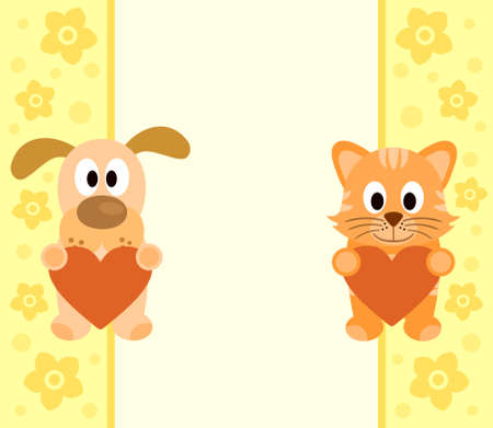 Background with funny cartoon dog and cat Vector