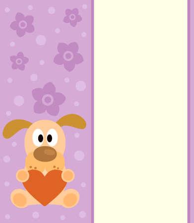 Background with funny cartoon dog Illustration