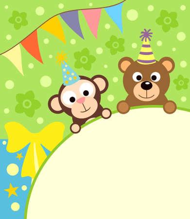 birthday flowers: Achtergrond kaart met grappige aap en beer