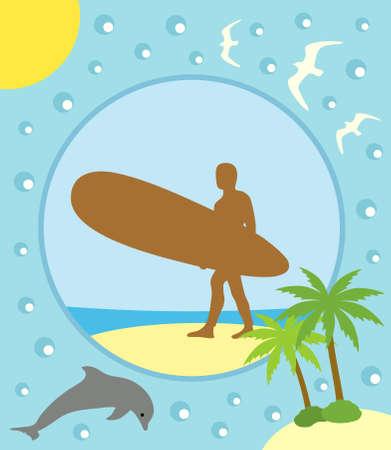 Verano de tarjetas de fondo con surfer