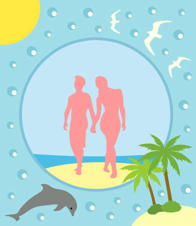 Summer background card with boy and girl Vector