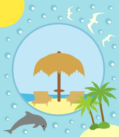 Summer background card with deckchair and umbrella Vector