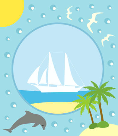 Summer background card with yacht Vector