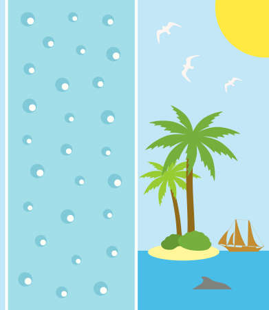 Summer background card with island and palm Vector