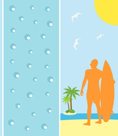 Background summer card with surfer Stock Vector - 19635231