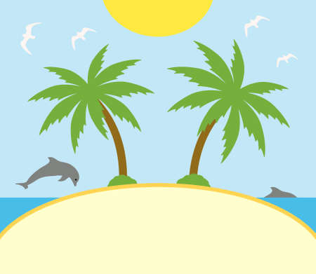 Summer background card with palm Vector
