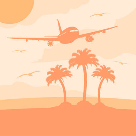 Summer background card with plane Stock Vector - 19719015