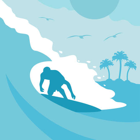 Summer background card with surfer and wave Stock Vector - 19719021