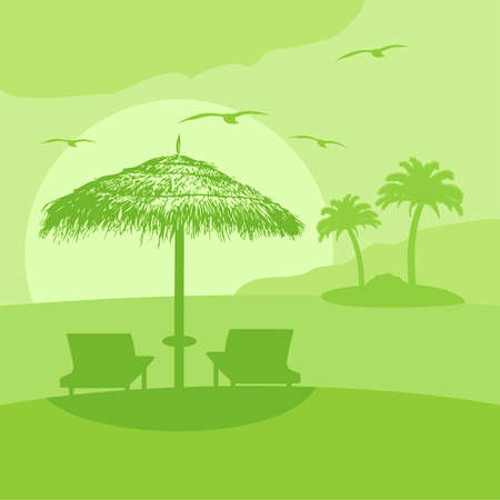 Summer background card with lounge and umbrella