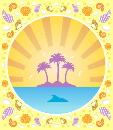 Background summer card with palm Stock Vector - 19976038