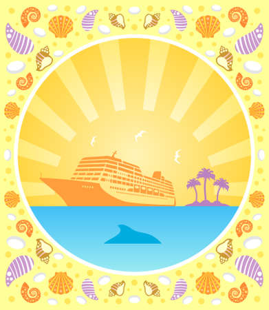 Background summer  card with ship
