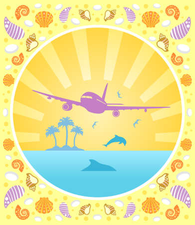 Background summer  card with plane Stock Vector - 19976041