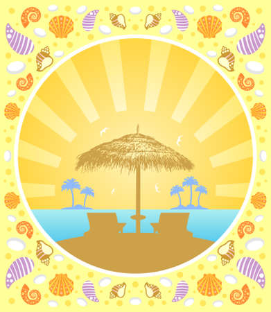Background summer card with  deckchair and umbrella Vector