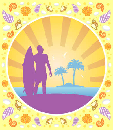 Background card summer with surfer Vector