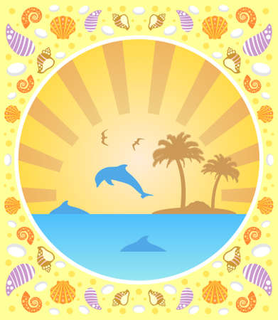Background summer card with dolphins Stock Vector - 19976023