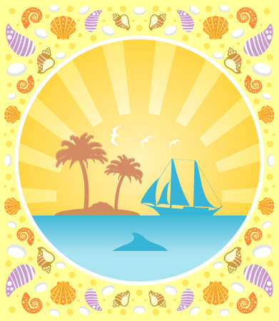 Background summer card with yacht Vector
