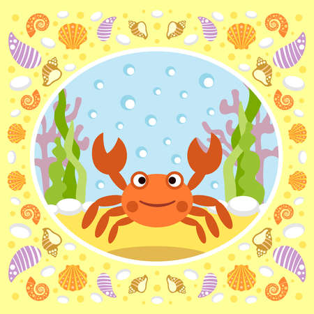 Sea background card with crab Vector