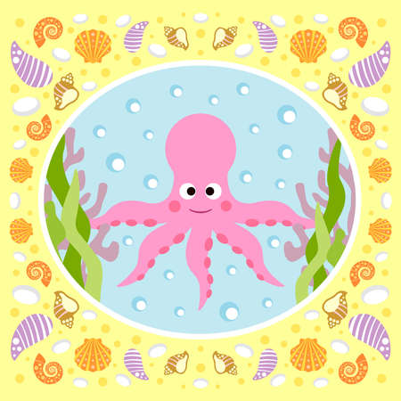 Sea background card with octopus Vector