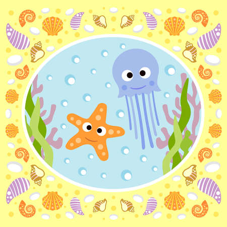 Sea background card with jellyfish and starfish Vector
