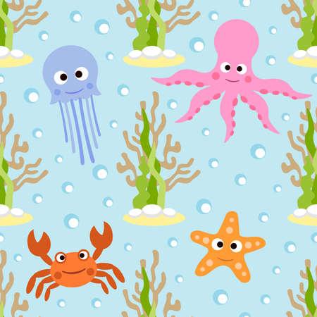 Sea animals seamless background card  Illustration