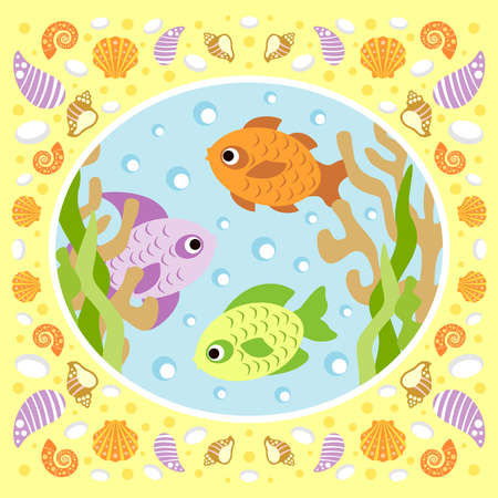 Sea background card with fish Illustration