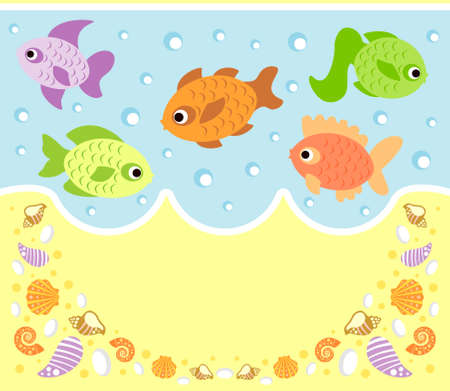 Sea animals cartoon background card with fish Stock Vector - 19976197