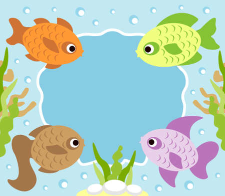 Cartoon background card with fish Vector