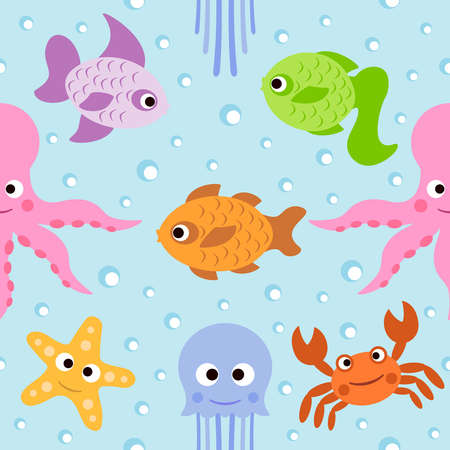 Background seamless card  with sea animals Vector