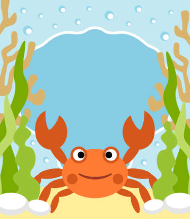 Background sea card with crab