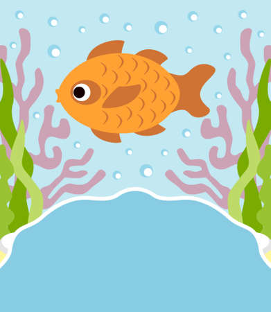 Background cartoon card with fish Vector